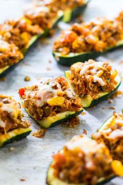 Mini Vegetarian Tex Mex Zucchini Boats