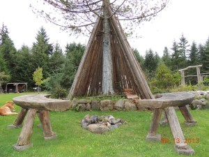 Firepit and teepee area. My kids play 'olden days' here.