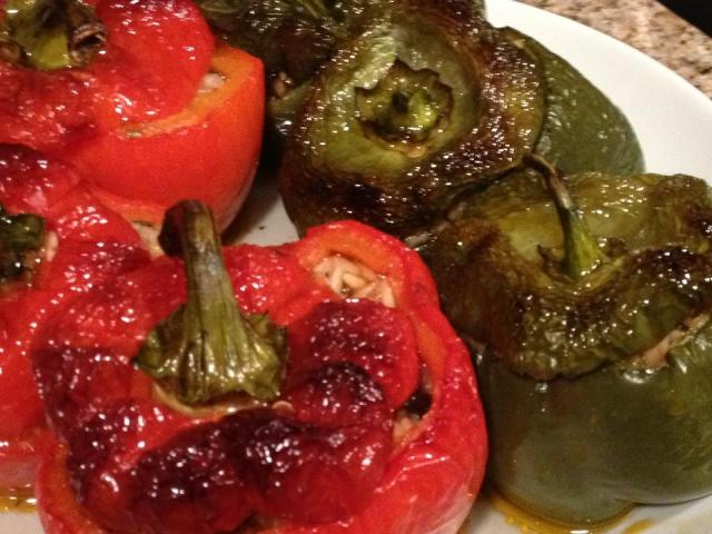 oven charred stuffed peppers