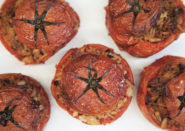 traditional Greek stuffed tomatoes