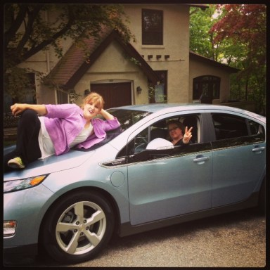 Green Divas playing with Chevy Volt