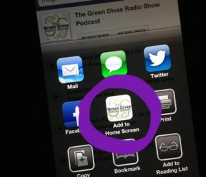 Green Divas iPhone App Ad to screen