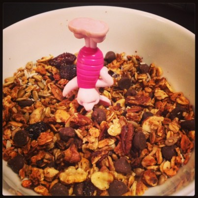Piglet headfirst in the granola