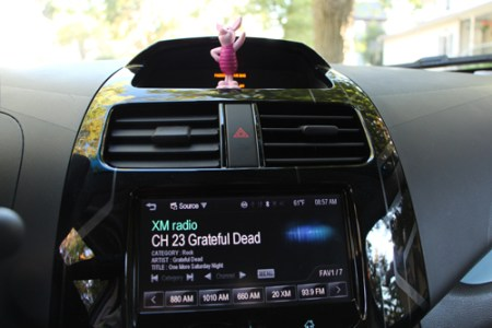 Piglet in the Chevy Spark EV
