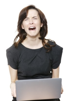 woman crying internet computer