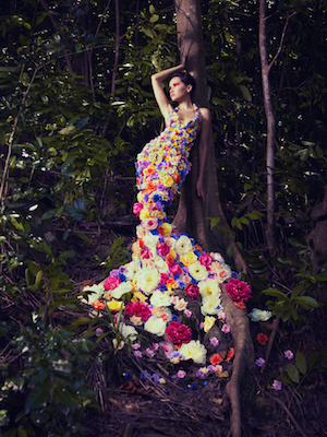 woman in flowers with tree