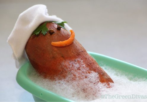 mr. potato taking a bath for plant-based mineral broth recipe