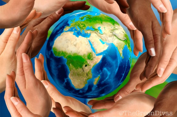 Earth Day 2017 image of many hands on the green divas