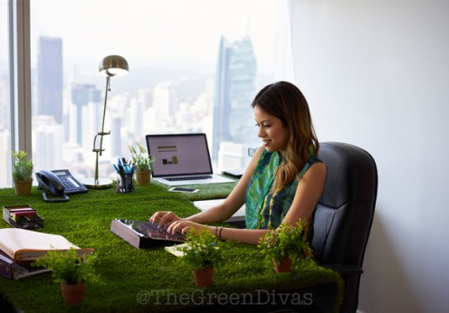 eco-friendly office girl on the green divas