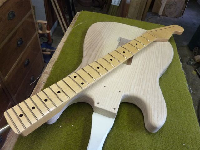 Frankenstrat Project - Body prepared for paint and neck varnished
