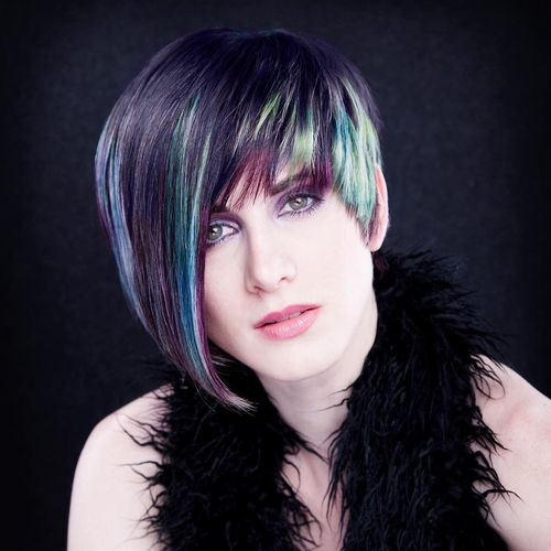 Multicolored Pixie with Long Fringe
