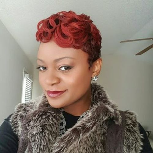 stylish curly red hair