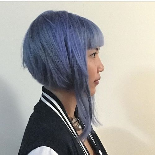 Light Blue Bob with Long Straight Ringlets