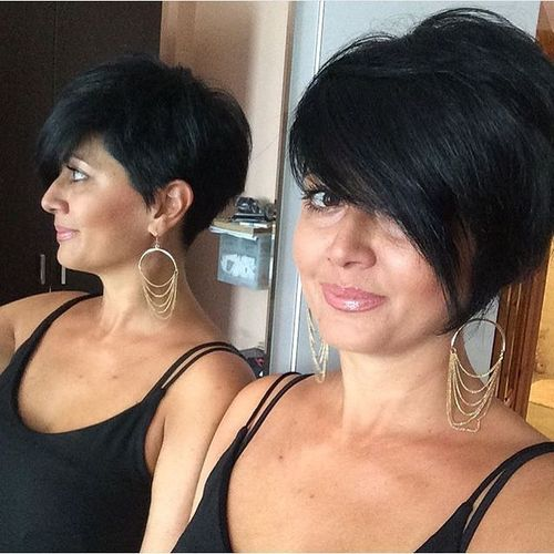 Lush Black Pixie with Bang on One Side