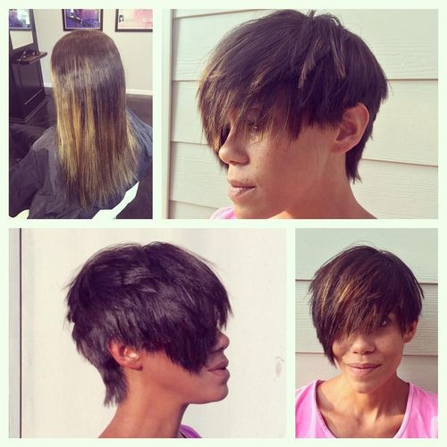 Black Cascade Pixie with Light Tips