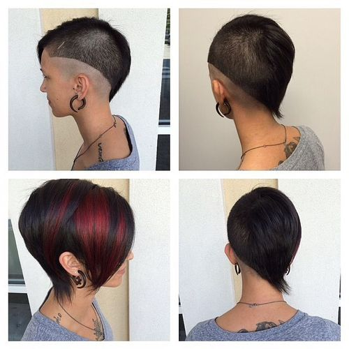 Black Bob with Shaved One Side and Red Streaks