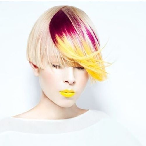 Bright Hairstyle with Long Bright Crimson-Yellow Fringe