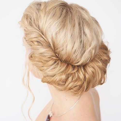 60 easy updos for medium length hair blonde greek updo hairstyle pmusecretfo Image collections