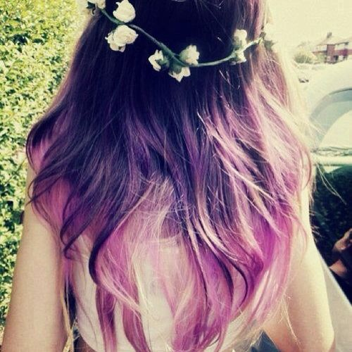 Cute dark hair with purple ombre for long hair