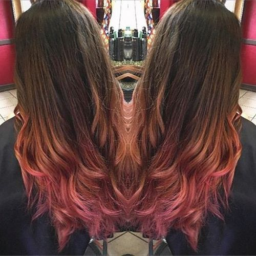 Gorgeous dark long hair with pink ombre