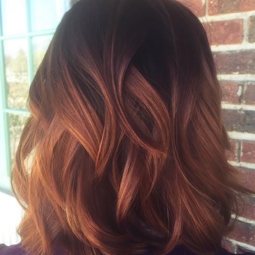 Brown ombre for long layered bob hairstyle