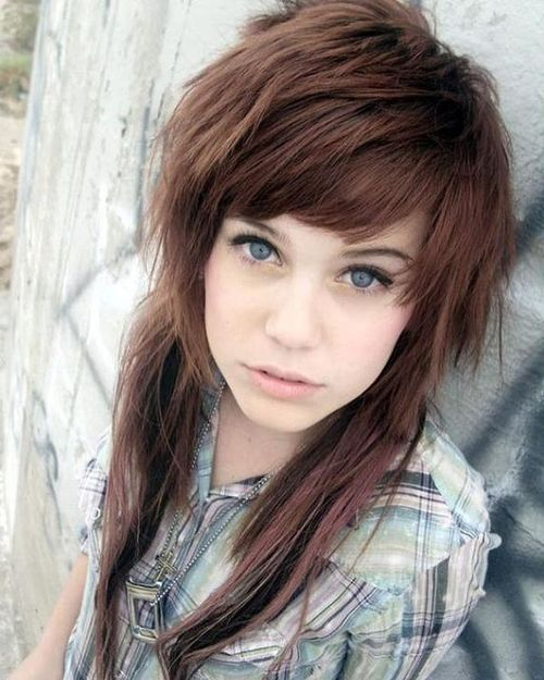 Brown shaggy emo hairstyles for girls