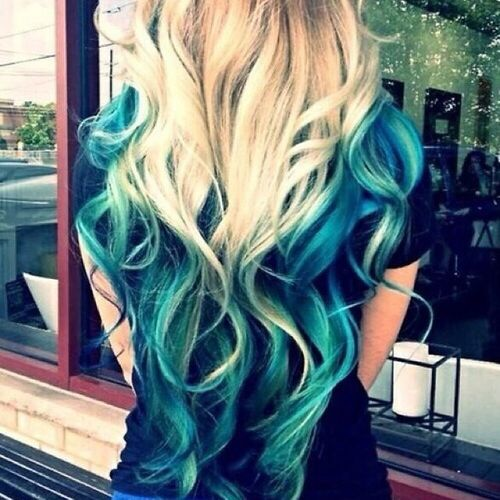 Light hair with blue ombre for long hair