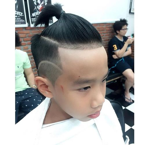 Sleek Ponytail and Sharp Lines for Asian Men