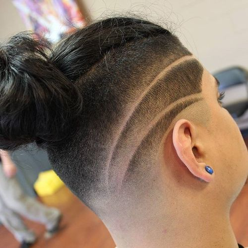 Top Knot with Sharp Fade