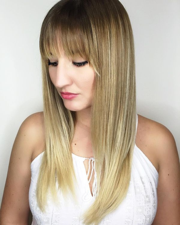 Balayage Highlights for Long Hair with Bangs