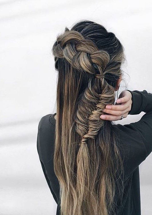 Braided Game with Long Streaked Hair
