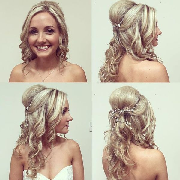 Soft Wavy Bridal Hairstyle with Pretty Accessory