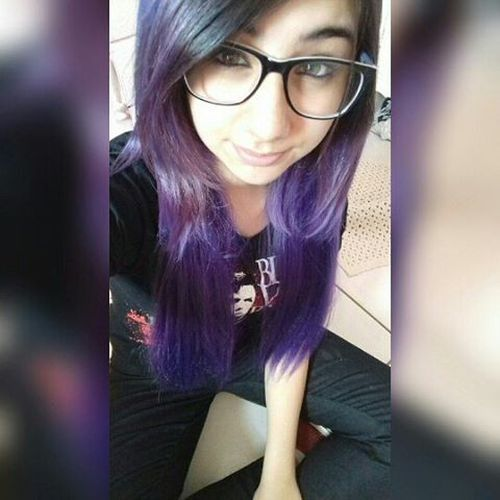 Dirty purple and violet colors on long hair