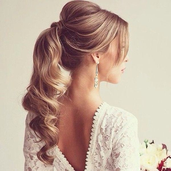 Curled high ponytail