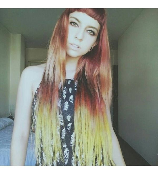 Sunny ombre om long hair with a shoer bang