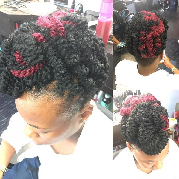 Extended Crochet Plaits Hairstyle with Tapered Nape