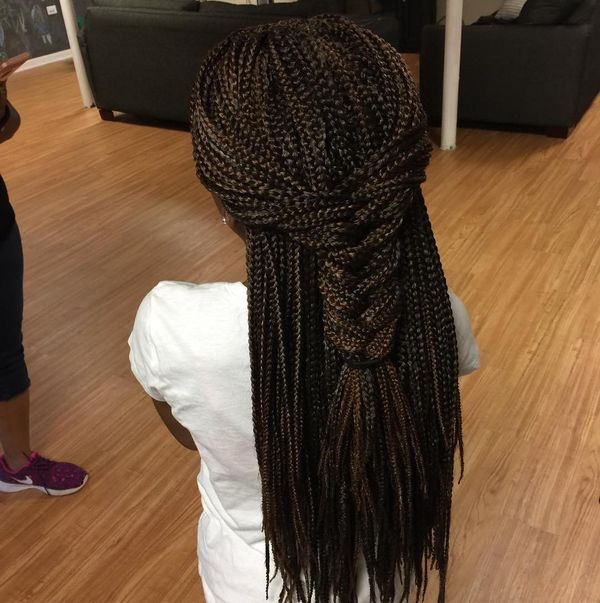 Thick English Plait on Crochet Box Braids