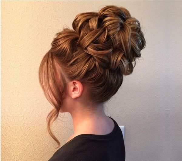 High Textured Bun with Fringe Lock