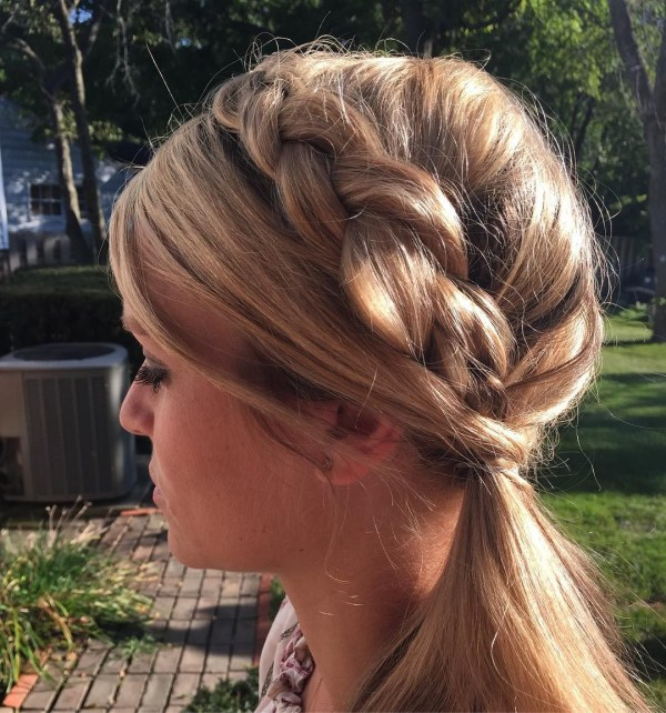 Dutch braid in the side ponytail