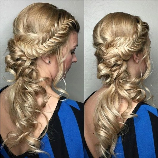 Fabulous side braid in a twisted ponytail