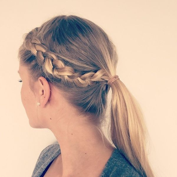 Low ponytail with side braid