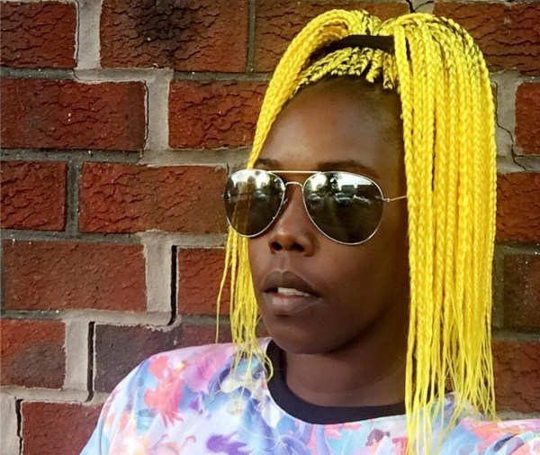 Yellow cornrows ponytail