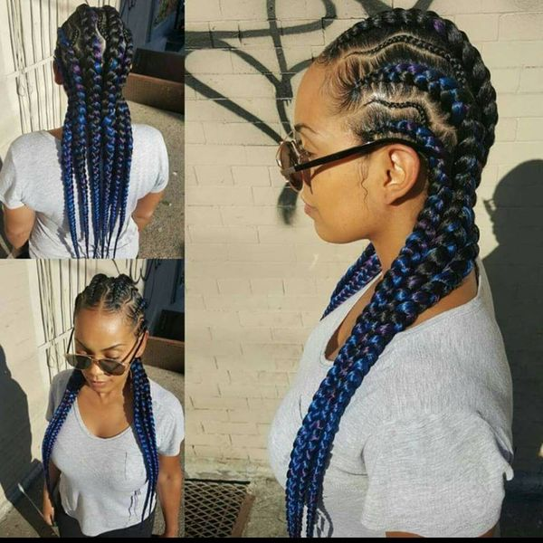 Black-Blue Cornrows For Long Hair