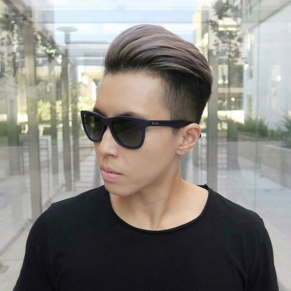 Gray-Haired Combed Back Top And High Fade