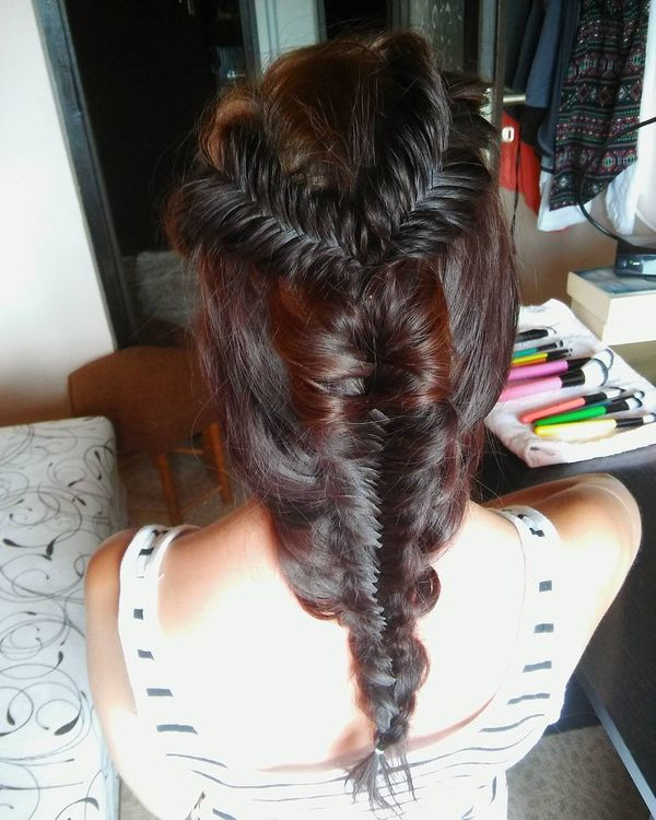 From two into one fishtail braid idea