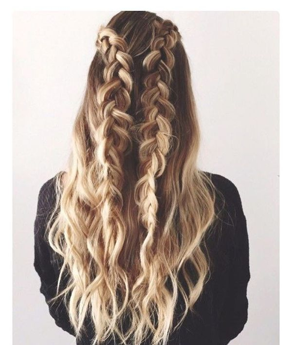 Double Dutch braids with loose hair