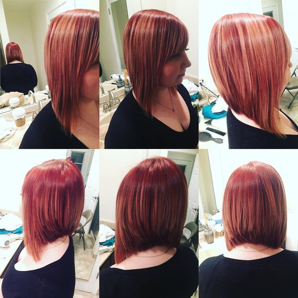 Contrasting Long Bobs with a Slanting Bang0