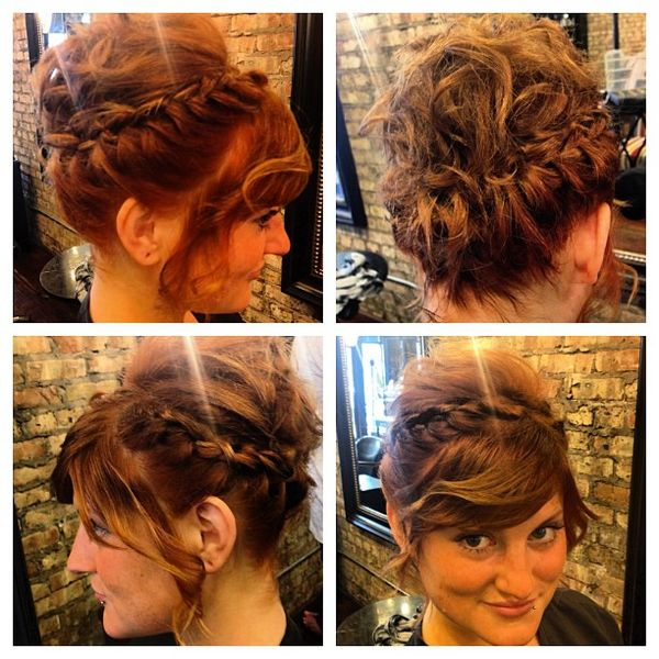 Splendid Top Messy Bun with an Oblique Fringe0