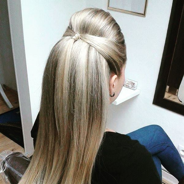 Steel Half-Up with a Bouffant for Long Straight Hair