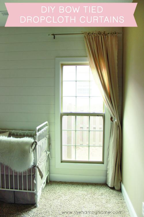 DIY Bow Tied Dropcloth Curtains
